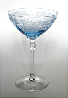 Fostoria Glass Azure Blue June Etch Champagne