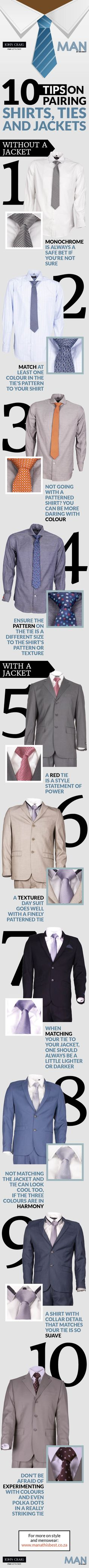 Tips for pairing shirts, ties and jackets