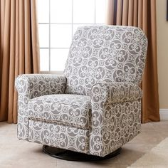 Shop for ABBYSON LIVING Perth Grey Floral Fabric Swivel Glider Recliner Chair. Get free delivery at Overstock.com - Your Online Furniture Shop! Get 5% in rewards with Club O!