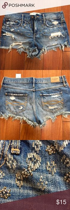 Abercrombie & Fitch embellished festival shorts Only worn once Abercrombie & Fitch Shorts Jean Shorts