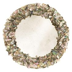 Artisan made tumbled abalone mirror inspired by Tony Duquette. Mirror in antique glass.
