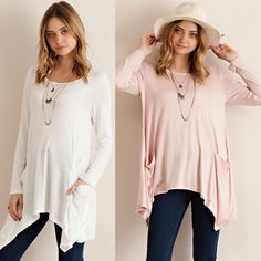 SOMERLYN long sleeve tunic top w pockets - PEACH Solid long sleeve tunic top featuring side pockets and asym hem. Unlined. Non-sheer. Knit. Lightweight. 95%VISCOSE 5%SPANDEX.  AVAILABLE IN BLUE AND PEACH.  IVORY WILL BE HERE IN EARLY FEBRUARY. Made in USA  NO TRADE PRICE FIRM Bellanblue Tops Tees - Long Sleeve