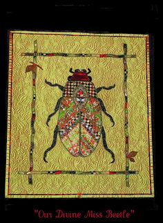 """Our Divine Miss Beetle""  Sonia Grasvik, Washington US. Applique and quilted with red thread. International Quilt Festival. Houston, Texas. Nov. 2010. via Flickr"