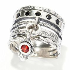 Passage to Israel Sterling Silver Interchangeable Gemstone Charm Wide Band Ring