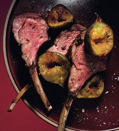 Lamb Chops with Herbs and Roasted Figs (dates and cherry juice-soaked dried cherries)