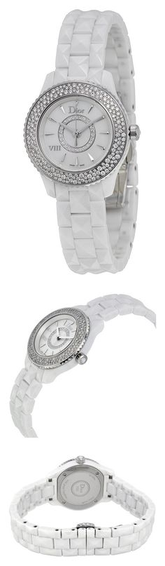 Christian Dior VIII Mother of Pearl White Hi Tech Ceramic Diamond Ladies Watch CD1221E4C001 #watch #christiandior #wrist_watches #watches #women #departments #shops