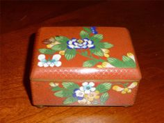 SOLD = Chinese Cloisonne Cigarette / Trinket Box - Rare RED - Key & Snakeskin Cloisons