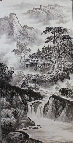 Chinese Landscape Painting, Landscape Drawings, Chinese Painting, Chinese Art, Fantasy Art Landscapes, Landscape Paintings, Mountain Art, Mountain Landscape, Painting Wallpaper