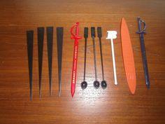 11 Braniff Airlines Plastic Swizzle Sticks Stirrers Aloha Surf Sword Spoons