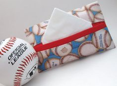 Batter up! This holder measures about 5 by and nicely holds a packet of travel tissues like Kleenex.* Each is unique, but all are awesome; First Class Stamp, Softball, Baseball, Tissue Holders, Inexpensive Gift, Gift Packaging, Pick One, Craft Fairs, Traveling By Yourself