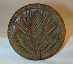 Beautiful Antique Carved Wood Small Primitive Butter Print Stylized Pineapple Fruit Toothed Border