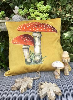 Toadstool cushion. Velvet toadstool pillow. FREE UK P & P.