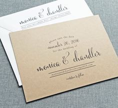 Monica Calligraphy Script Recycled Kraft Rustic Wedding Save The Date Sample