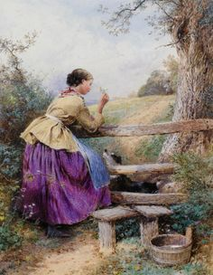 Myles Birket Foster  Waiting for Father