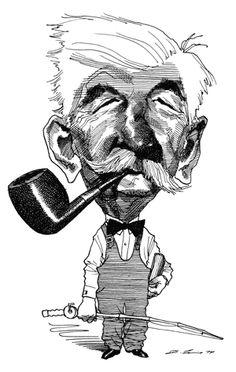 "William Faulkner caricature (by David Levine, June 27, 1974, NY Review of Books, ""Mr. Blotner, Mr. Feaster, and Mr. Faulkner"")"