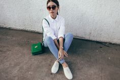 tricia gosingtian blogger top jeans shoes bag jewels sunglasses