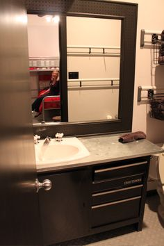 Look at the sink cabinet...it's a Craftsman tool cabnet!