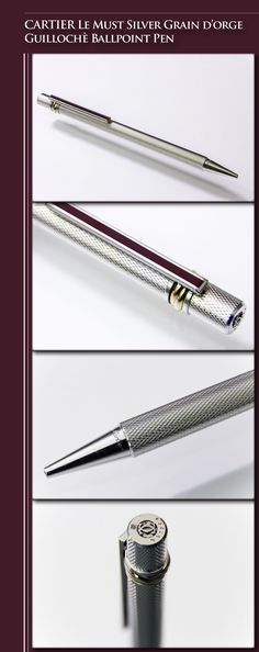 CARTIER Le Must Silver Grain d'Orge Guillochè Ballpoint Pen (palladium coated metal composite body, lacquer) - 1980's / France