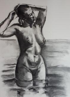 Model sketch in water - charcoal (2020) Model Sketch, Charcoal, My Arts, Statue, Water, Gripe Water, Sculptures, Sculpture