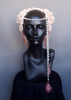 Marie Antoinette Pink & Ivory Peacock Feather Headpiece