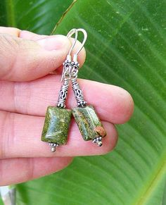 Spring Green Balinese Silver and Stone earrings by alanabobanna, $21.95 March Madness Sale! All merchandise is 30% through the end of the month!  Use coupon code MARCHMAD30 at check out.
