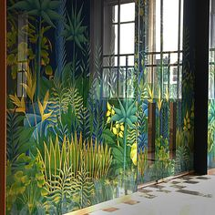 Ideas Painted Door Interior Creative Mirror For 2019 Window Signs, Window Art, Window Film, Back Painted Glass, Painted Doors, Botanical Interior, Mirror Painting, Art Graphique, Wall Treatments