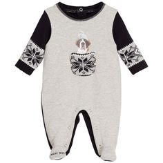 Boys grey and navy blue babygrow by Lapin House. Made in a soft fleece cotton with long knitted sleeves and a ribbed neckline. It has a knitted pocket on the front with a cute dog print, and 'Baby Boy' printed on one foot. There are poppers on the back and between the legs for easier dressing and nappy changes.