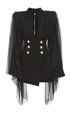 Cape-Overlay Double-Breasted Silk Dress by BALMAIN for Preorder on Moda Operandi kleidung, Korean Fashion, High Fashion, Womens Fashion, Classic Fashion, Fashion Coat, Fashion Black, Fashion 2020, Fashion Rings, Coat Dress