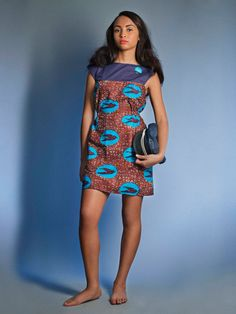 Air Éthiopique Dress in Navy and Burgundy African wax print fabric