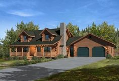 Gorgeous log cabin home plan with 2 car garage starting at just over $100,000