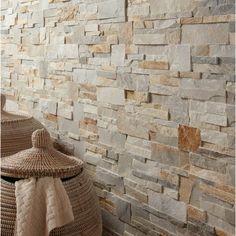 Plaquette de parement pierre naturelle beige / gris Elegance | Leroy Merlin