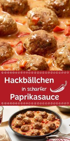 Hackbällchen in scharfer Paprikasauce These spicy little meatballs are on the table in just 30 minutes along with the tasty paprika sauce. Food N, Good Food, Food And Drink, Yummy Food, Paprika Sauce, Low Carb Recipes, Cooking Recipes, Healthy Recipes, Salsa Picante