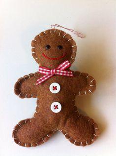 Felt Gingerbread Man Christmas Ornament by LifeOfLeisureCrafts, $7.50