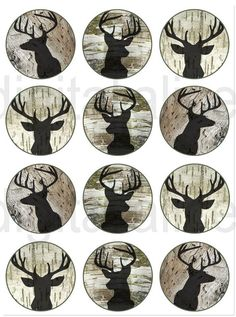 STAG DEER HEAD Craft Circles Deer Buck with by DigitalAlice