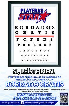 Mercancía seleccionada con 1 bordado gratis en Playeras Star, visítanos en Durango c/esq. Hidalgo en #CiudadObregón