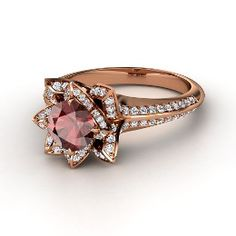 Brilliant Lotus Ring, Round Red Garnet Rose Gold Ring with Diamond from Gemvara