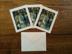 Three notecards with matching white linen by CoggeshallArt on Etsy, $12.00