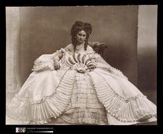 Virginia Oldoini, Countess di Castiglione (1837-1899), better known as La Castiglione, was an Italian courtesan who achieved notoriety as a mistress of Emperor Napoleon III of France. She was also a significant figure in the early history of photography.  (Much too much dress!)