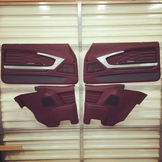 Dave Vos @customs_by_vos custom chevelle door panel. panels. burgundy grey silver black. luxury modern contemporary pro touring awesome. absolute best. led lights. fiberglass interior design