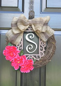 Spring Wreath - Summer Wreaths for door - Burlap wreath - Monogram Wreath - Summer Wreath - Door Wreath - Wreath for Door - Country Cottage via Etsy. (Could maybe change out the flowers to match the season/holiday so it could be a year-round wreath? Wreath Crafts, Diy Wreath, Door Wreaths, Burlap Wreath, Wreath Ideas, Monogram Wreath, Grapevine Wreath, Burlap Monogram, Cotton Wreath