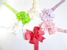 Set of 6 ribbon bow Headband Baby bow Headband by colorsplashh Headband Baby, Elastic Headbands, Baby Bows, Ribbon Bows, Photo Props, All Things, Gift Wrapping, Handmade, Stuff To Buy