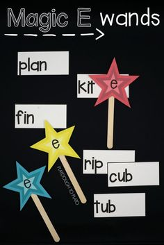 Magic E Activities Awesome Magic E wands! Such a fun way to practice short and long vowels in kindergarten or first grade.Awesome Magic E wands! Such a fun way to practice short and long vowels in kindergarten or first grade. First Grade Phonics, Teaching First Grade, Student Teaching, Teaching Reading, Guided Reading, First Grade Reading Games, Teaching Ideas, First Grade Art, First Grade Lessons