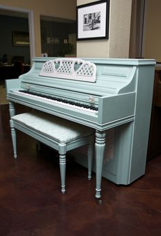"""Aqua"" A Piano Revival Project by My First Piano artist Lia. See what other fun things we're up to at myfirstpiano.net #paintedpiano"