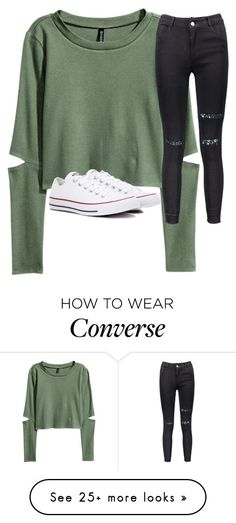Untitled #3266 by laurenatria11 on Polyvore featuring H&M and Converse