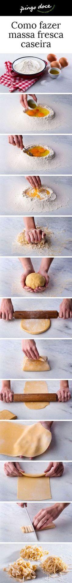 Para fazer massa fresca caseira são precisos quatro ingredientes e algum trabalho de braços e mãos. A técnica é morosa mas vale bem o esforço.