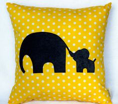 Mommy and Me Pillow / Mom and Baby Elephant Pillow. Customize with your favorite…