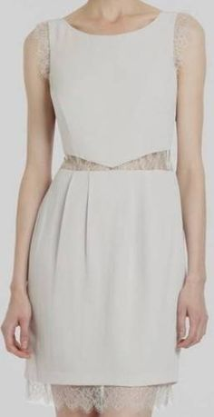 "$298 New BCBG Max Azria ""Maud"" Cloud Grey Lace Cocktail Party Dress 8 | eBay"