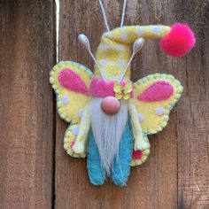 Etsy :: Your place to buy and sell all things handmade Butterfly Ornaments, Felt Ornaments, Craft Free, Felt Crafts, Felt Diy, Spring Crafts, Craft Gifts, Christmas Crafts, Just For You