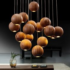 Nordic Led Pendant lights Creative Pastoral Wooden Ball Shade Pendant Lamp for Dining Room Clothing Store Hanging Lamp Deco