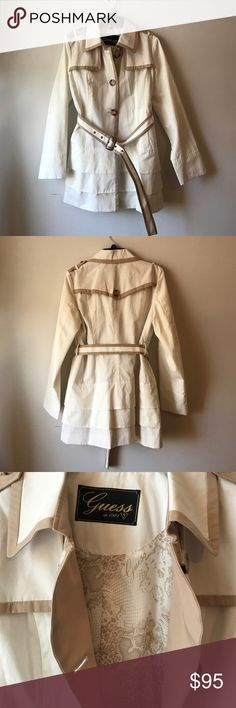 White with Tan Trim GUESS Trench Coat Only worn once for engagement photos. Trench coat is an off white with tan trim. Ruffled bottom with a belt. Comment with questions. Guess Jackets & Coats Trench Coats